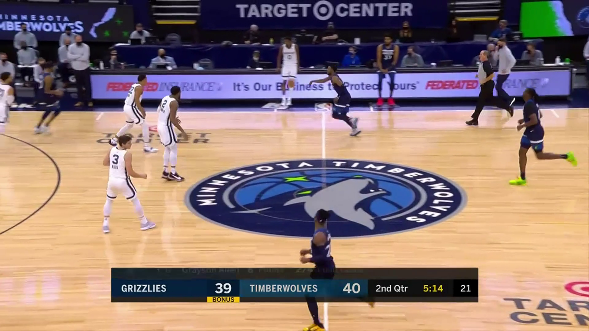 Desmond Bane powers through the paint off the fastbreak