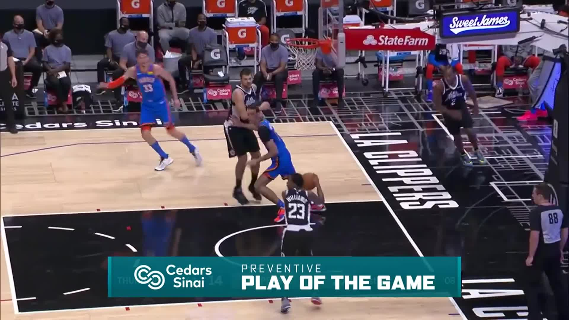 Cedars-Sinai Preventive Play of the Game | Clippers vs Thunder (1.22.21)