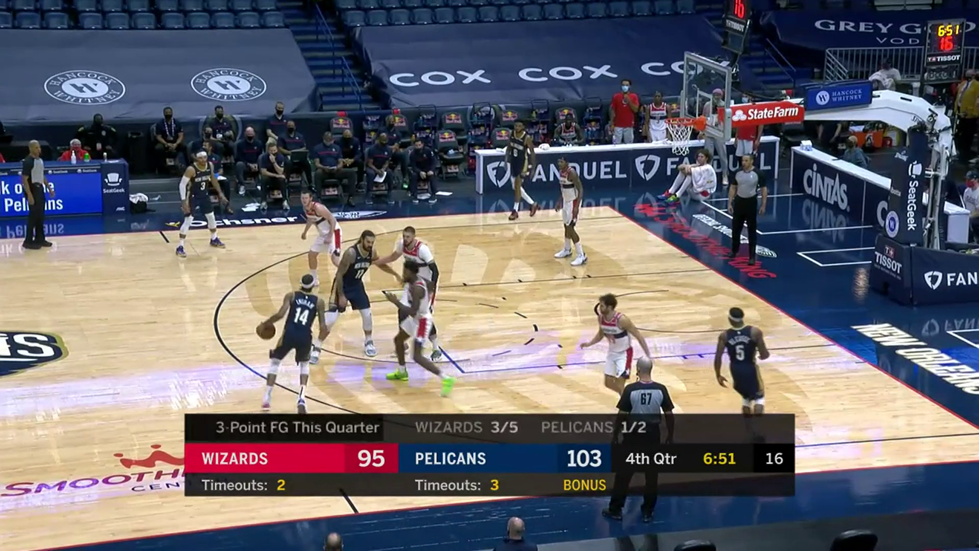 3-pointer by Josh Hart | Pelicans-Wizards Highlights