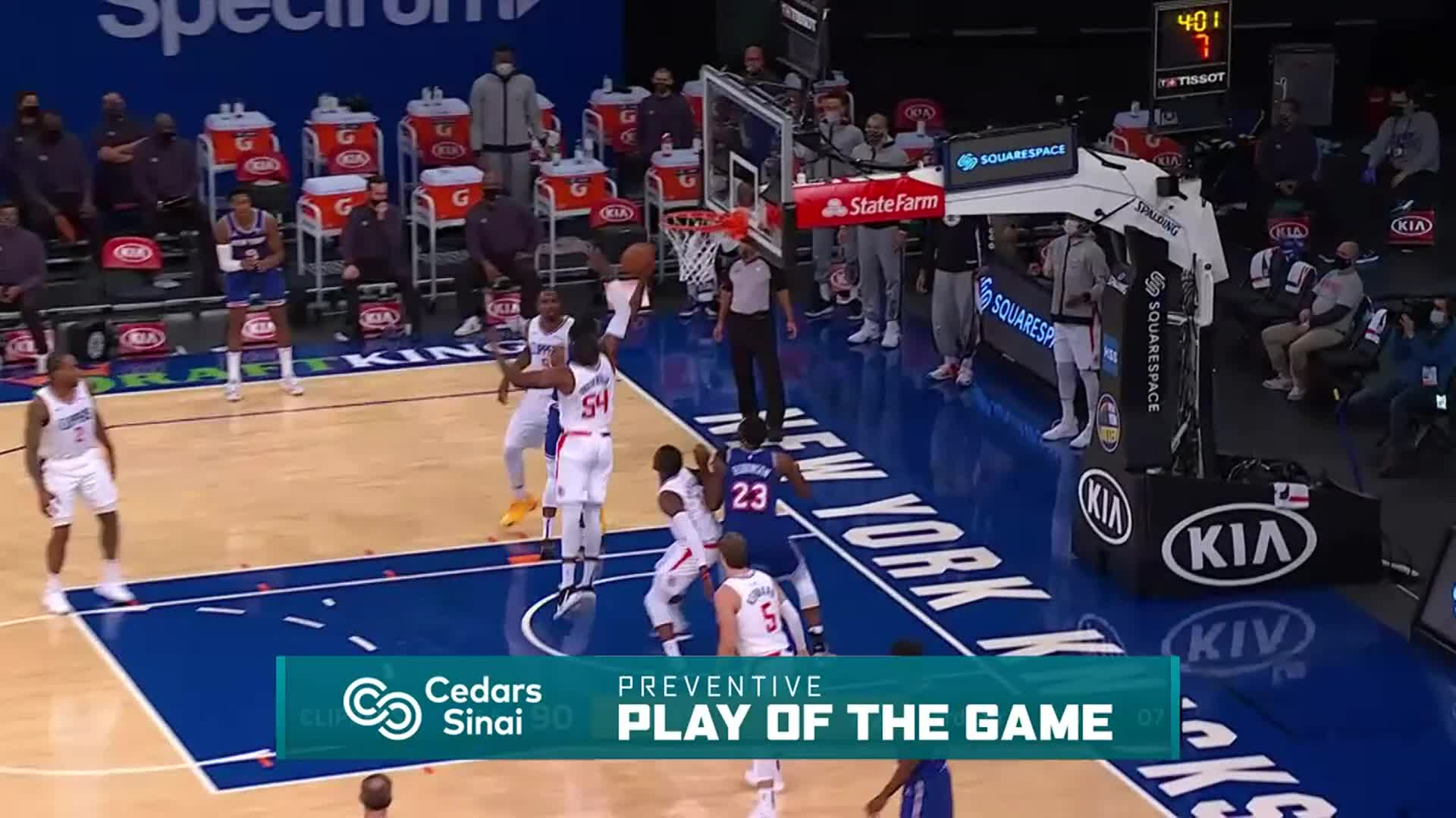 Cedars-Sinai Preventive Play of the Game | Clippers vs Knicks (1.31.21)