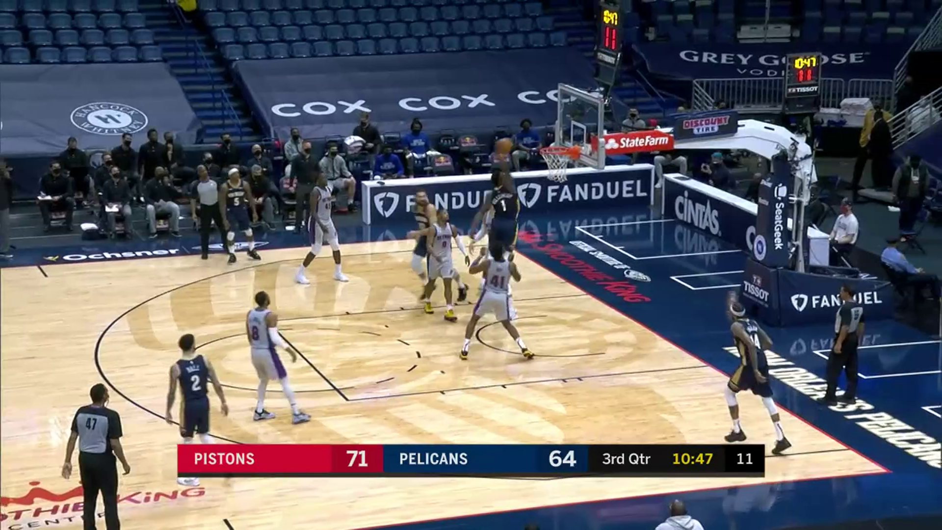 Zion Williamson one-handed jam   Pelicans-Pistons Highlights