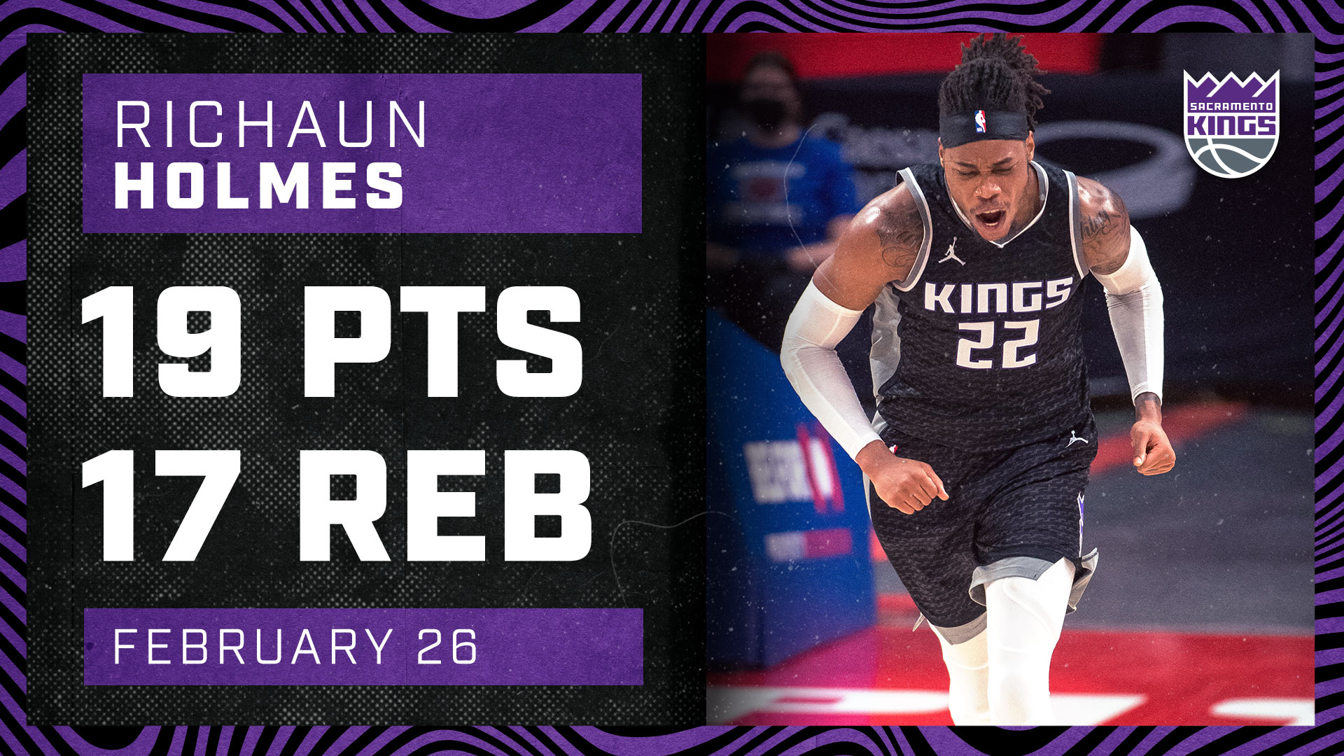 Richaun Holmes with 17 BOARDS in the W   Kings vs Pistons 2.26.21