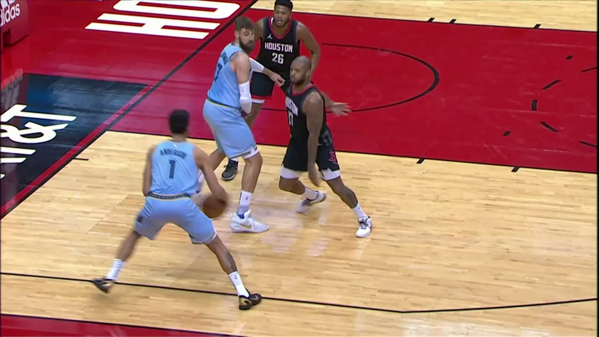 Kyle Anderson cleans up the rim with a powerful jam