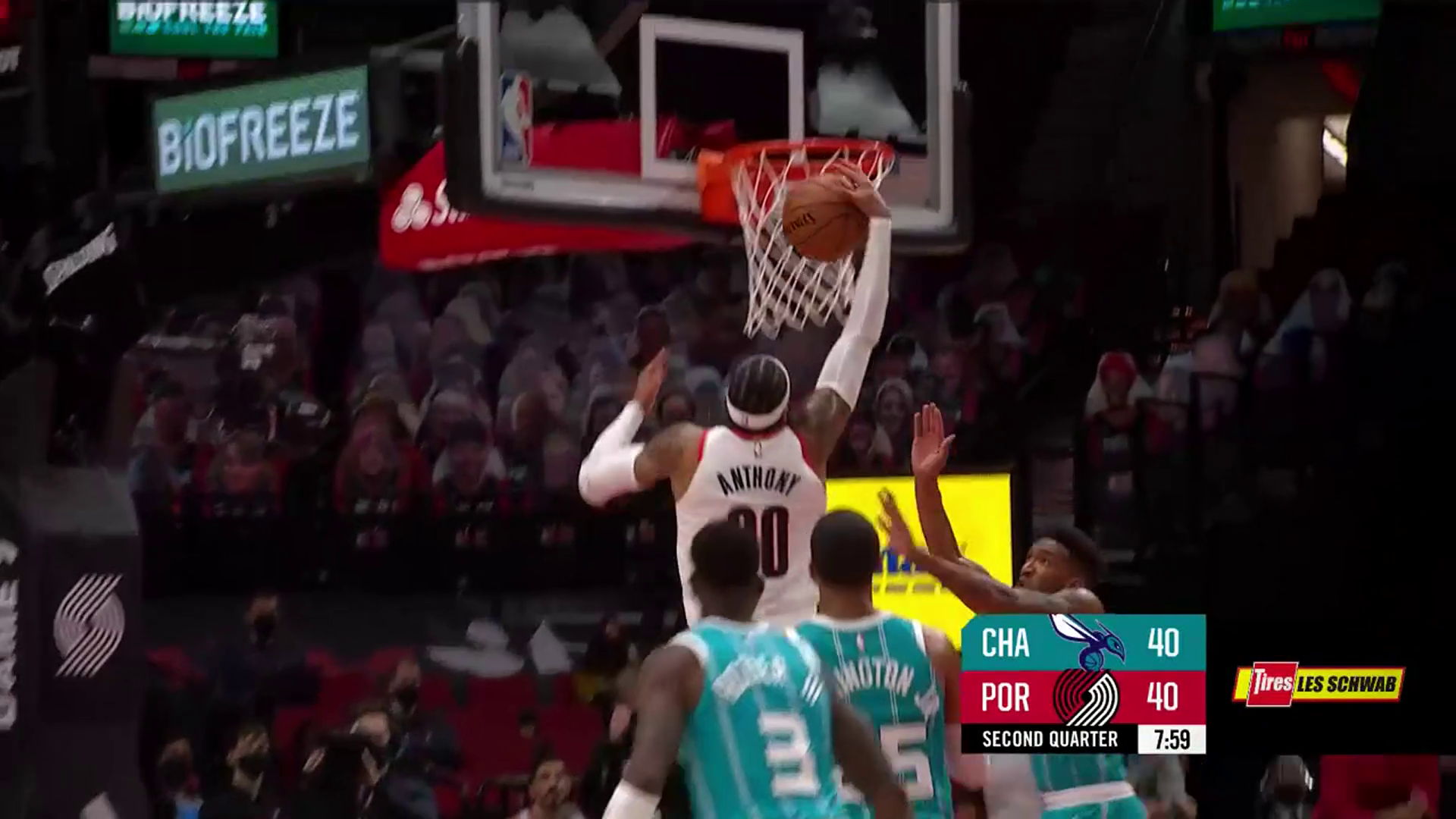 Carmelo Anthony drives to the rim for the one-handed slam
