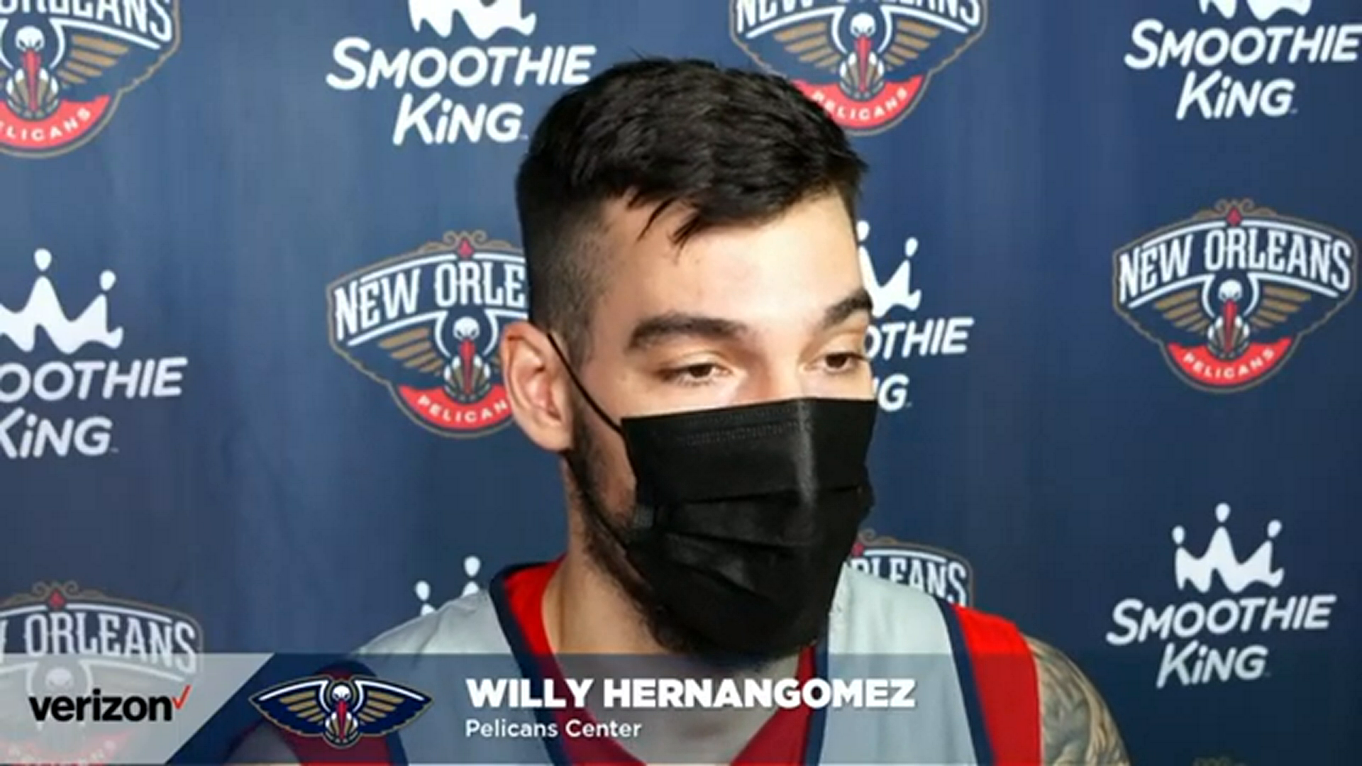 Willy Hernangómez talks about his defensive improvement | Pelicans Post-Practice 3/2/21
