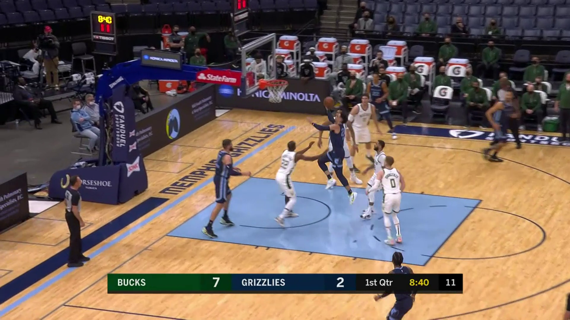 Dillon Brooks lays it up and in for two