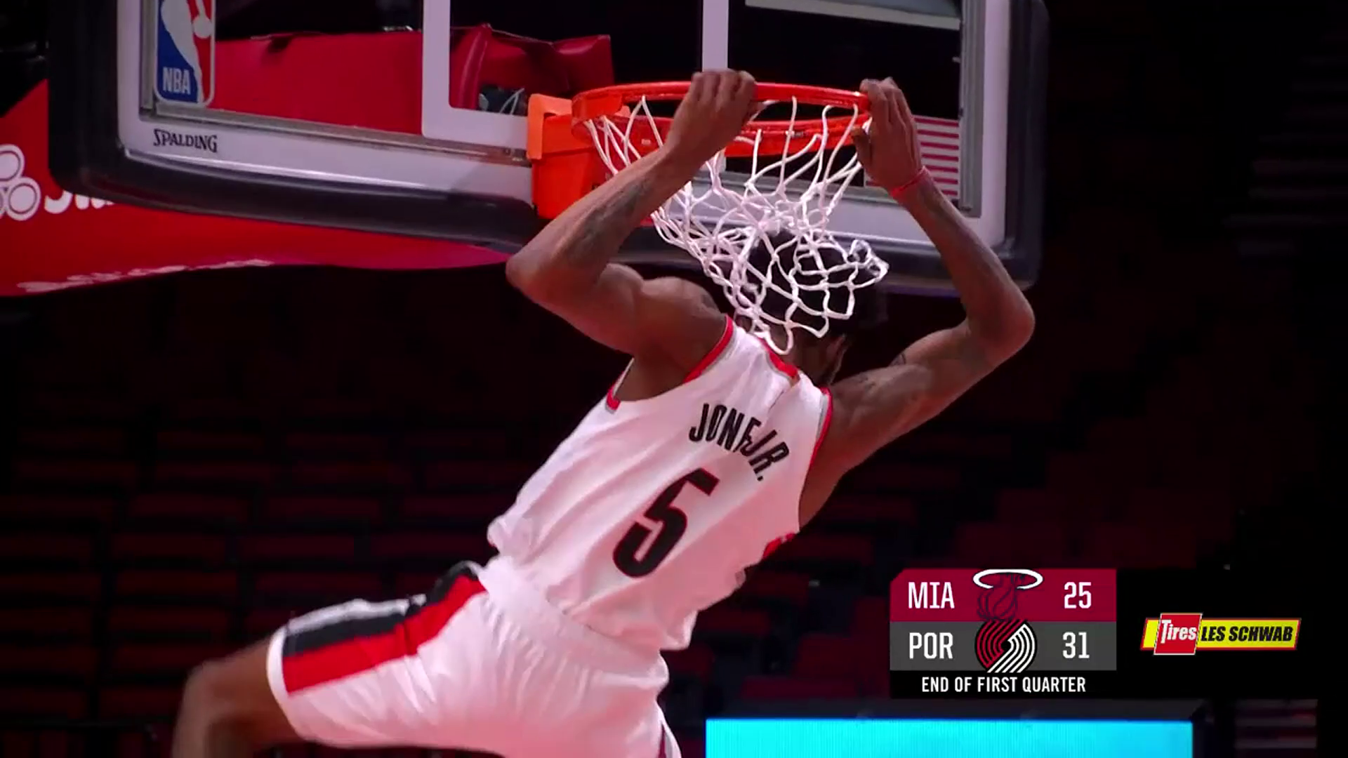 Derrick Jones Jr. explodes to the rim