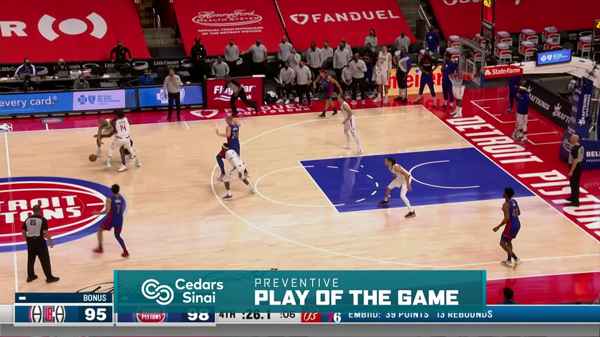 Cedars-Sinai Preventive Play of the Game | Clippers vs Pistons (4.14.21)