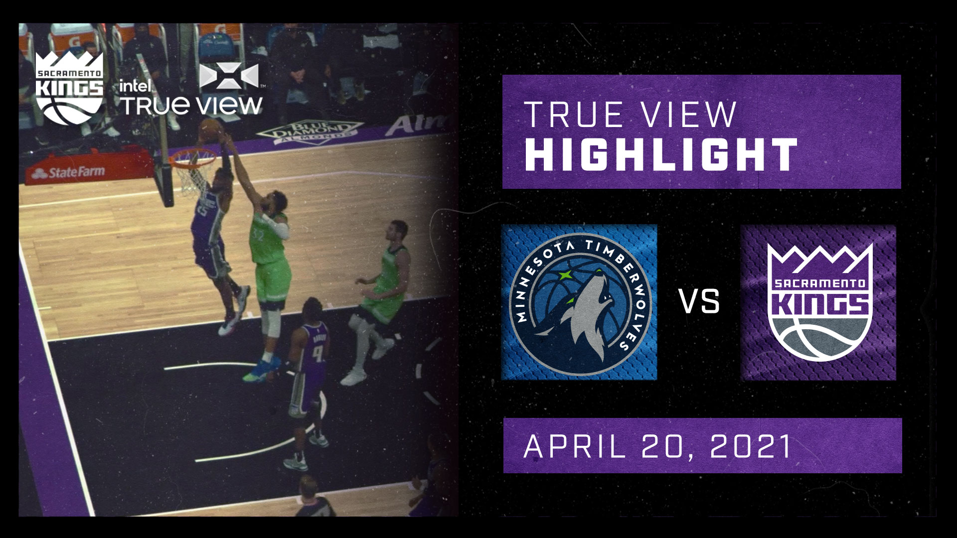 Intel True View Highlight - Haliburton No Look Pass to Metu vs Timberwolves 4.20.21