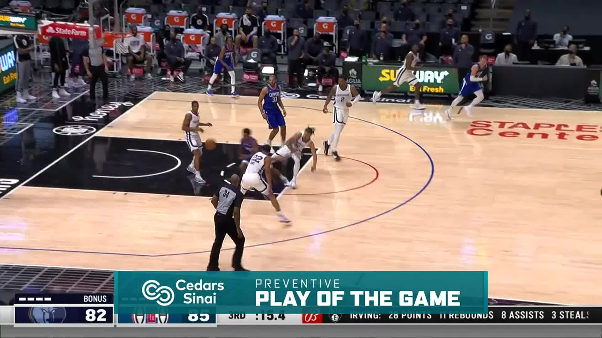 Cedars-Sinai Preventive Play of the Game | Clippers vs Grizzlies (4.21.21)