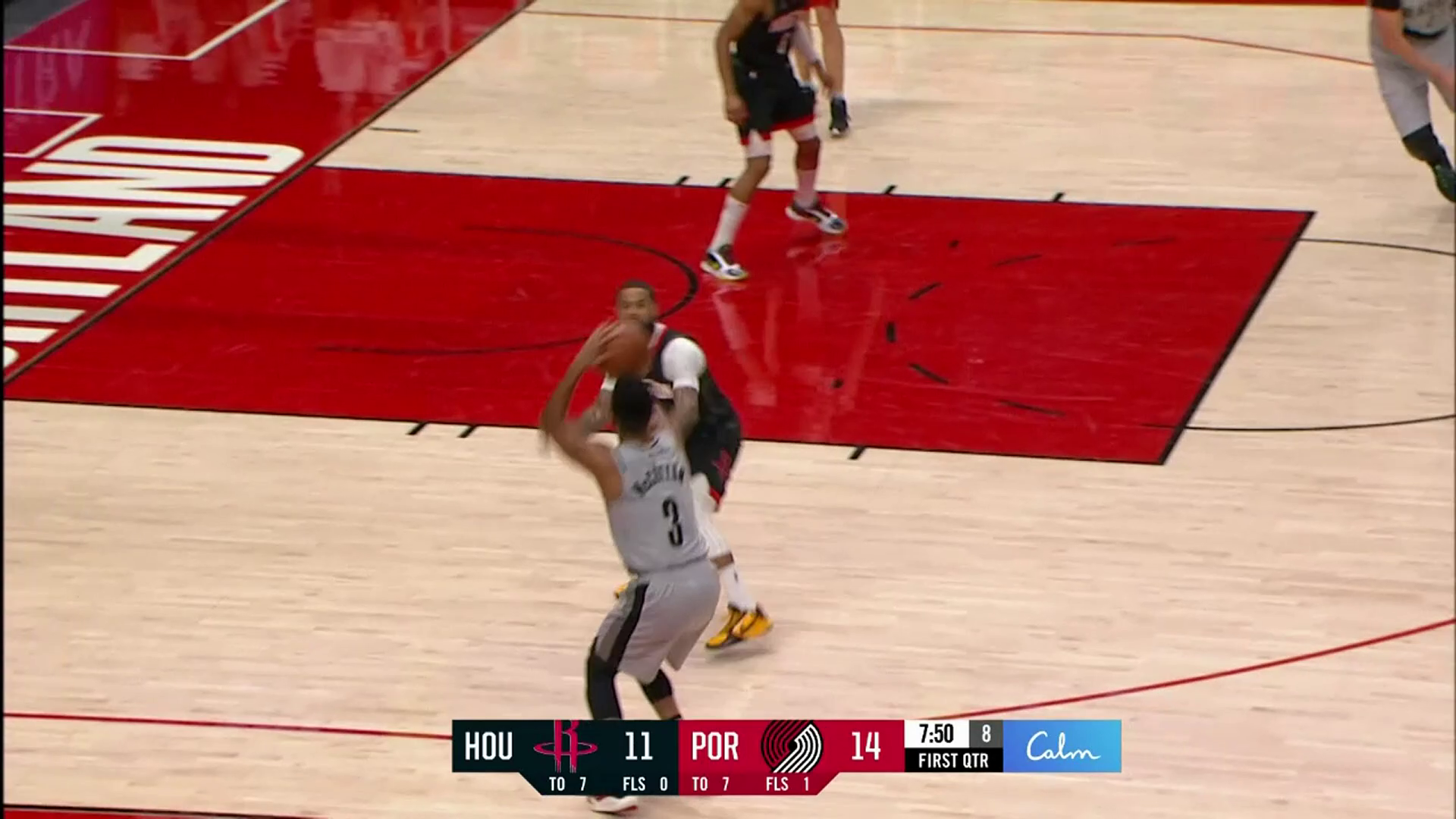 Everyone gets a hand on the ball before CJ hits the three