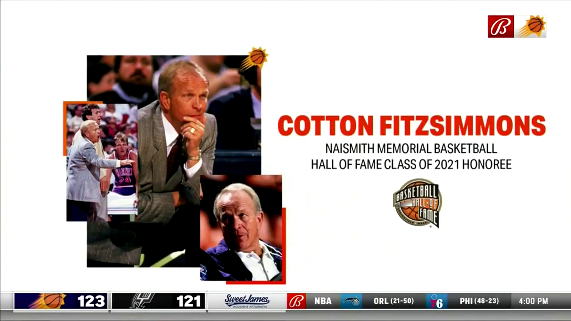 JoAnn Fitzsimmons Joins Suns Broadcast: Cotton Fitzsimmons to be Enshrined in the Naismith Memorial Basketball Hall of Fame