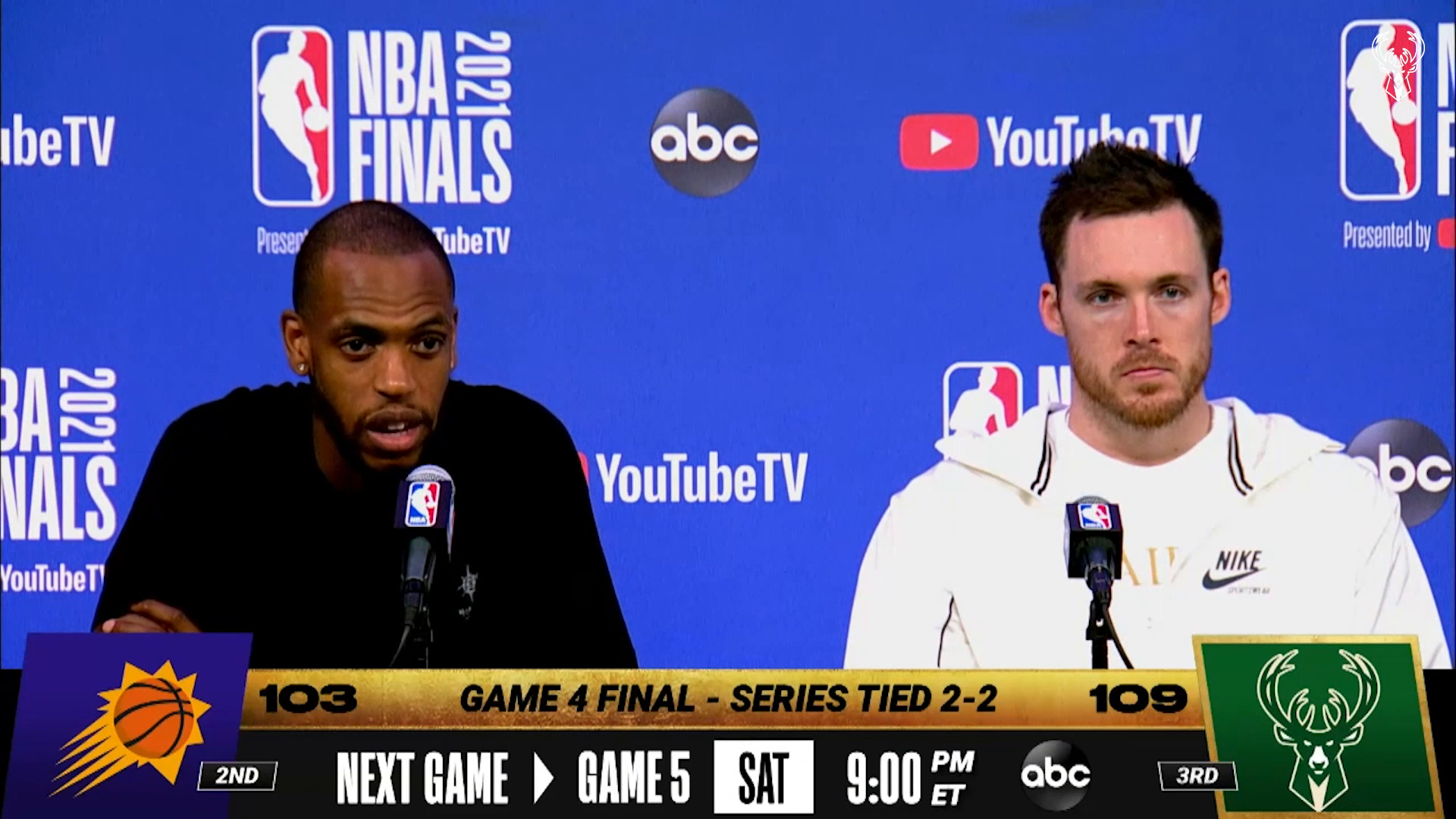 Khris Middleton and Pat Connaughton Game 4 NBA Finals Media Availability | 7.14.21