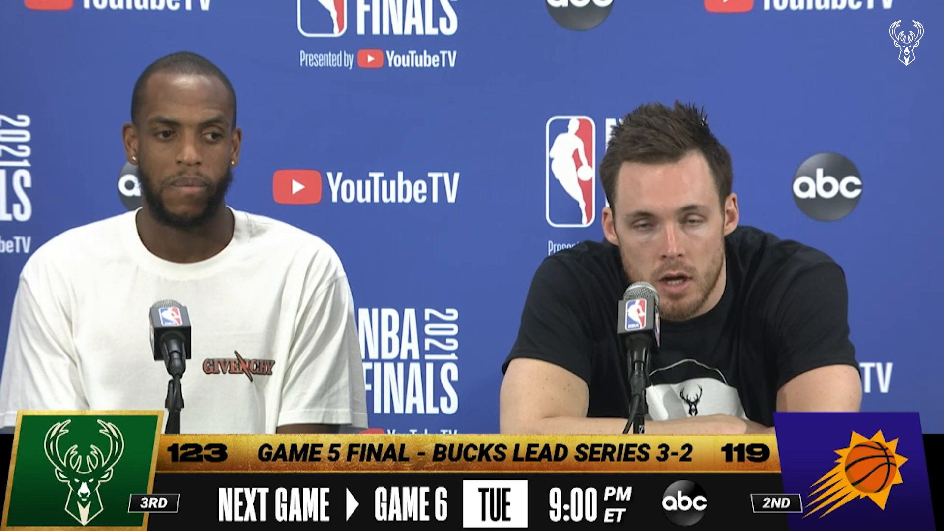 Khris Middleton and Pat Connaughton Game 5 NBA Finals Media Availability | 7.17.21