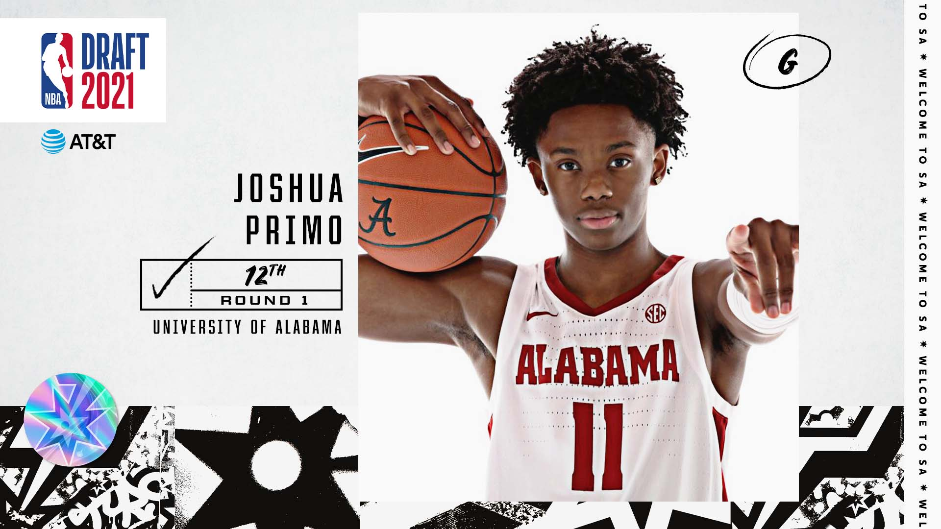 With the 12th pick in the 2021 NBA Draft, the San Antonio Spurs select Joshua Primo