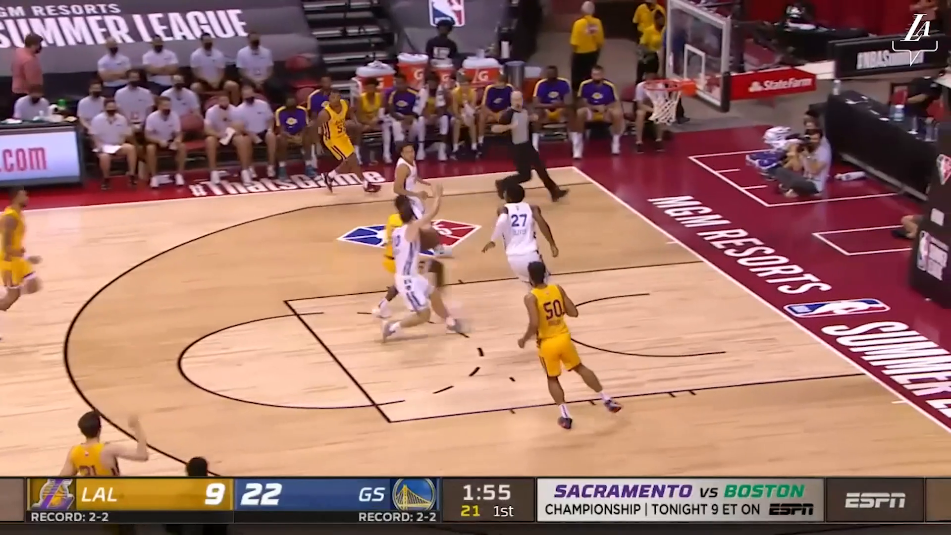 HIGHLIGHTS   Trevelin Queen (21 pts, 5 reb, 4 stl) vs Golden State Warriors   Lakers Summer