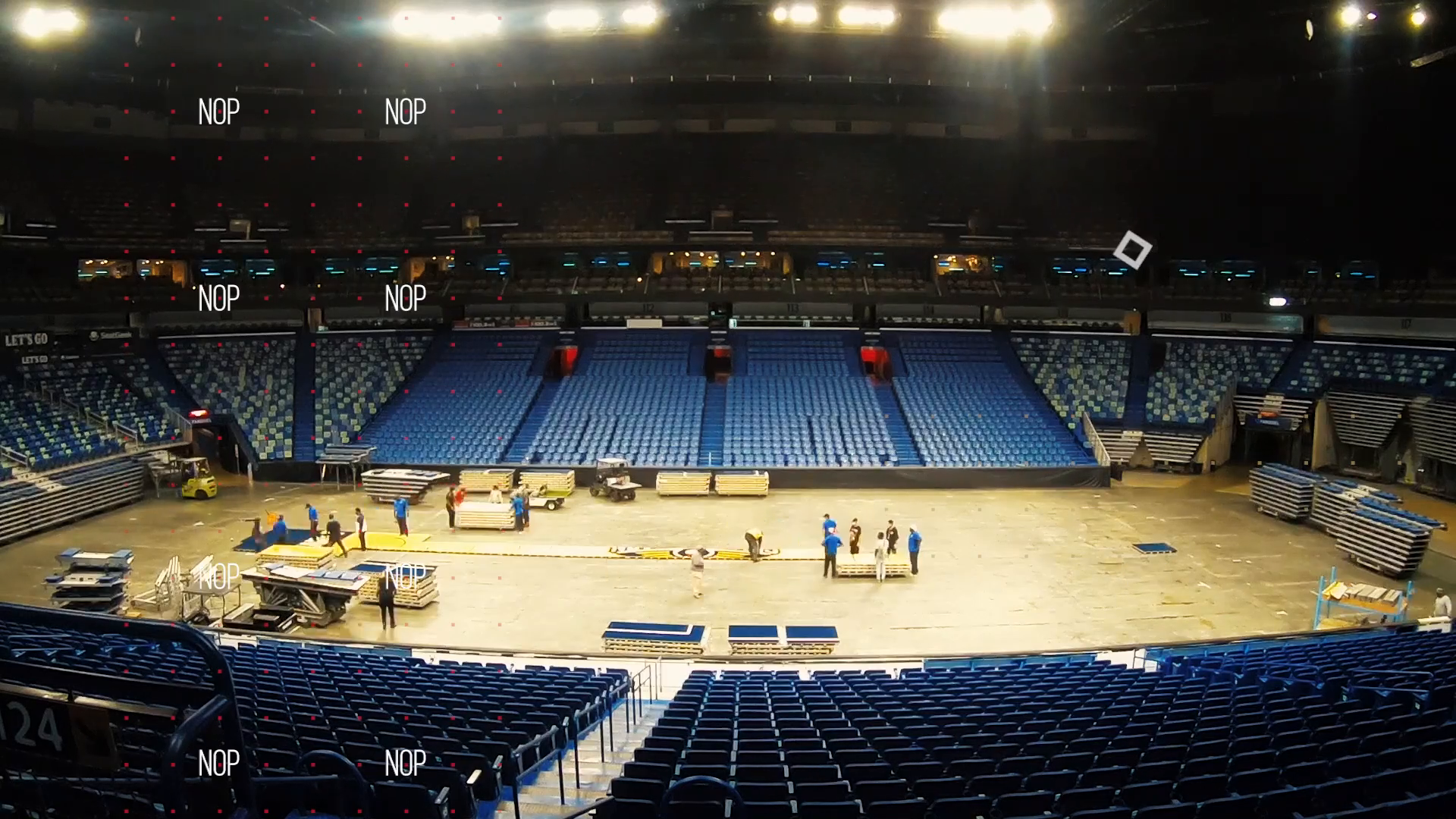 Pelicans basketball court install time-lapse for the 2021-22 NBA season