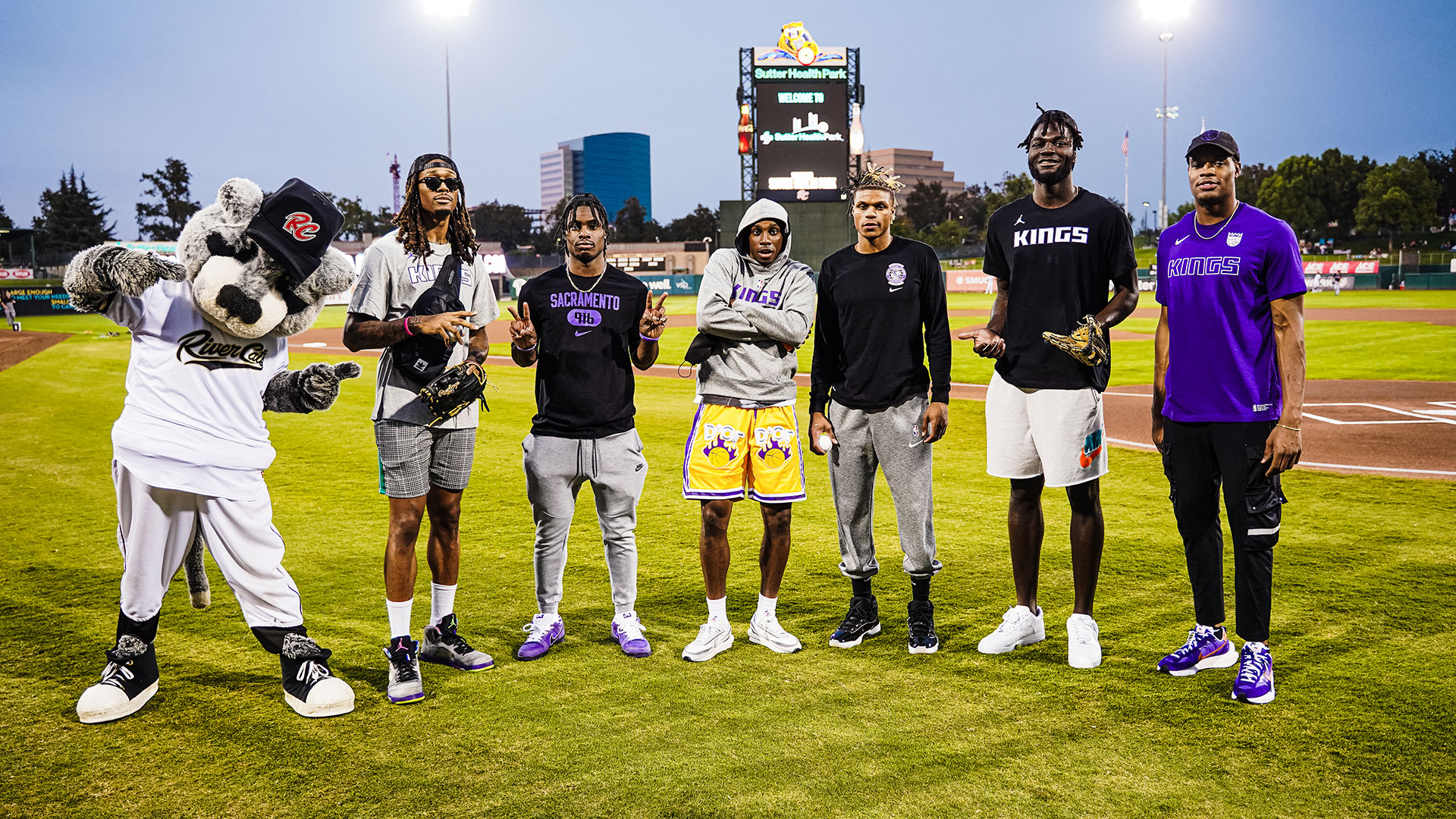Kings Throw out First Pitch at River Cats Game