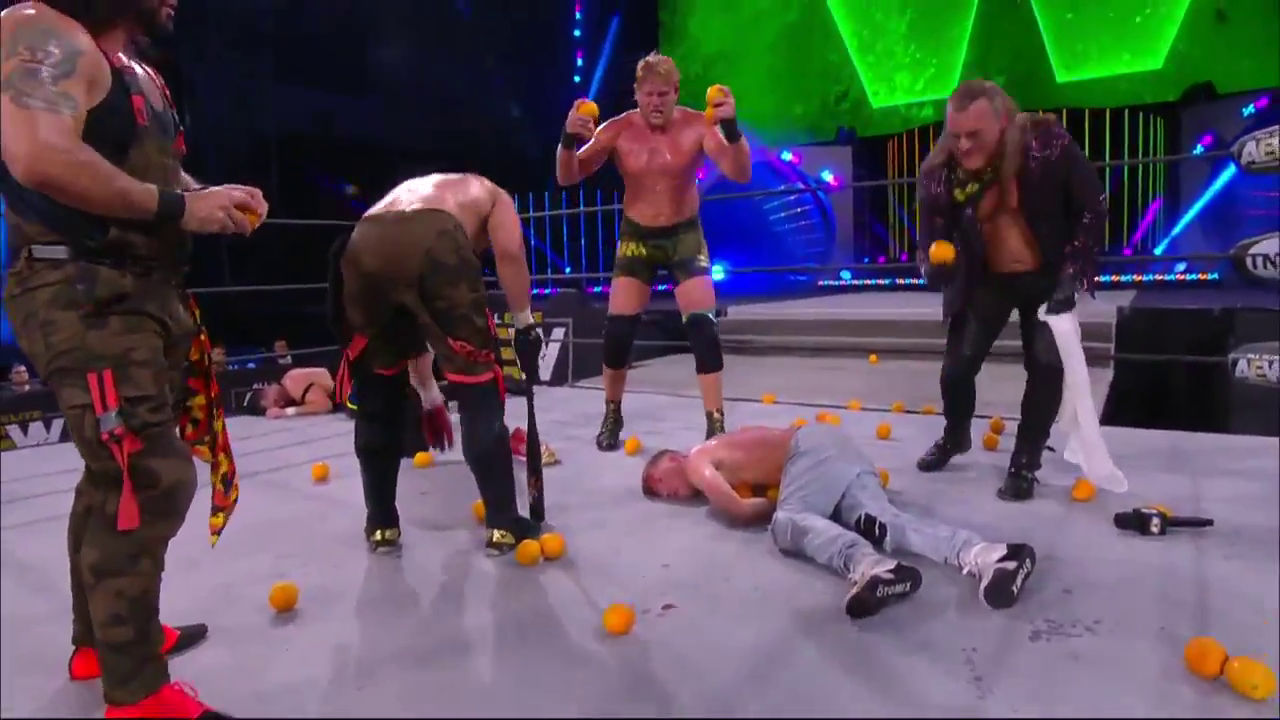 Orange Cassidy is bloodied by blood oranges