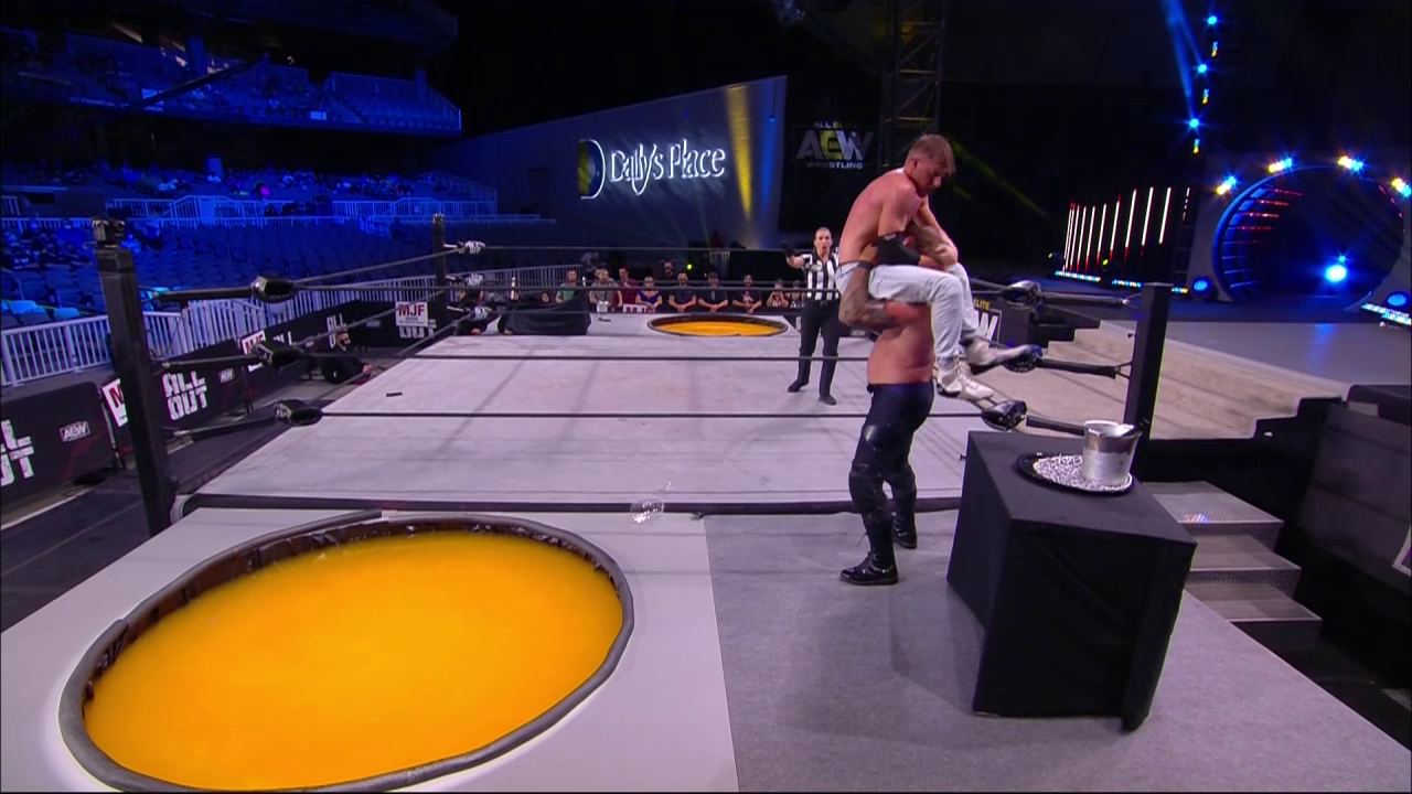 Orange Cassidy was shown to his table